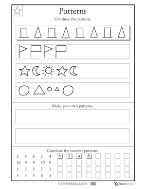 math worksheet : kindergarden patterns worksheets  free patterns : Math Patterns Worksheets