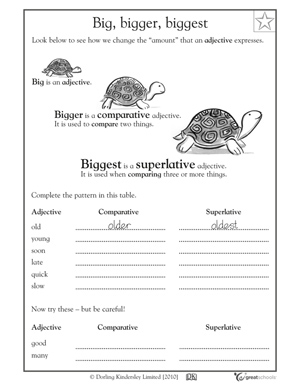 5 great writing worksheets: grade 3 - Big, bigger, biggest