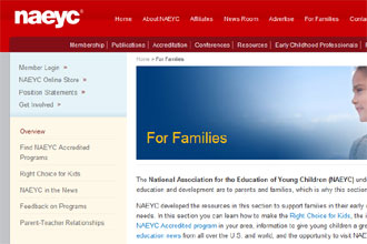 Screenshot of NAEYC website