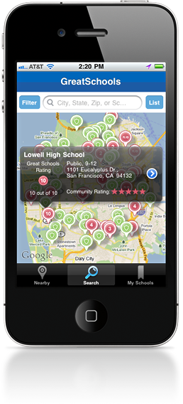 iPhone App GreatSchools Finder